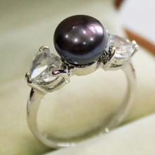 Элегантные популярные- >@! Женское серебряное кольцо с кристаллами и 9-10 мм черный перламутр, жемчужина кольцо(#7 8 9