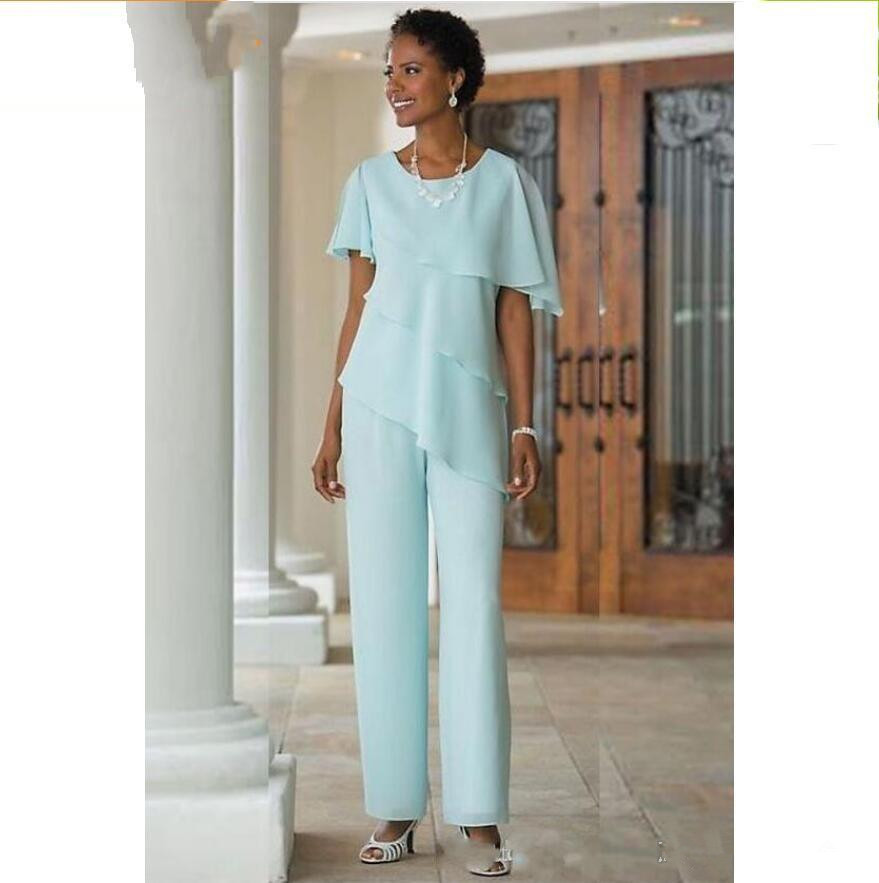 2019 Mother of the Bride Dresses Pants Suits Wedding Guest Dress Silk Chiffon Short Sleeve Tiered Mother of Bride Pant Suits in Mother of the Bride Dresses from Weddings Events