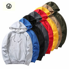 Europe Size Thick Hooides Men Solid Color Plus Velvet Fashion Sweatshirts Men Hip Hop High Streetwear Fleece Hoody Man Clothing(China)