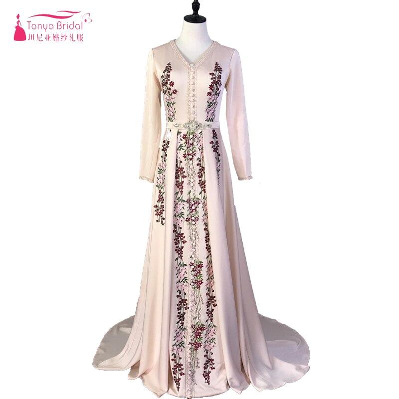 Robe De soirée musulmane élégante caftan marocain 2019 Robe De soirée Dubai dentelle Applique Robe formelle à manches longues femmes Robe De bal