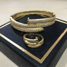 Di alta Qualità Completa Zircone Oro Charming Donne di Colore Doppio Strato Del Chiodo Del Polsino Braccialetti Elegante Punk Bracelet & Bangle Per Le Donne ZK50