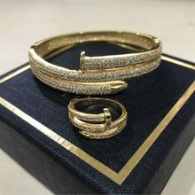 High Quality Full Zircon Charming Gold Colour Women Double Layer Cuff Nail Bangles Elegant Punk Bracelet & Bangle For Women ZK50