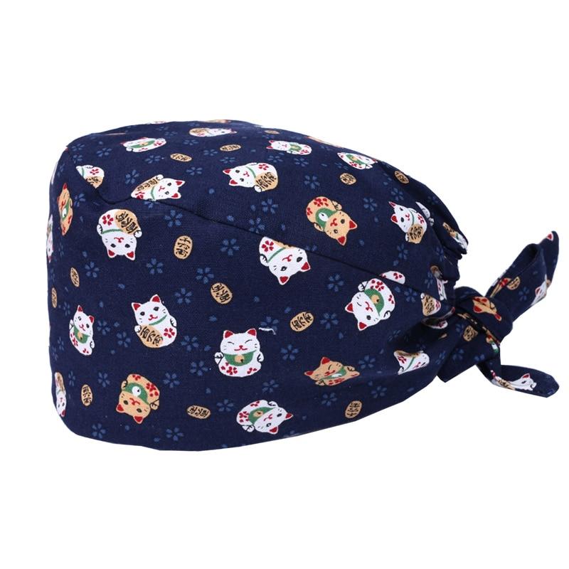 Unisex Navy Japan's Lucky Maneki Neko Print Surgical Cap Scrub Nurse Hat Nurse Work Hats 100% Cotton Surgeon Opticians Hats