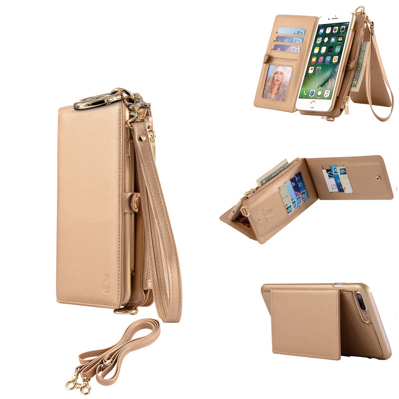 newest 699a9 c9542 US $15.99  Zipper Shoulder Wallet Case Phone Bag For iPhone 6s Plus 7 Plus  Long Shoulder Strap Genuine Leather Removable Handbags With Card-in Wallet  ...