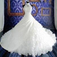 Сексуальная Холтер шеи без рукавов vestidos de noiva бальное платье Свадебные платья молния Назад Роскошные Свадебная вечеринка платье