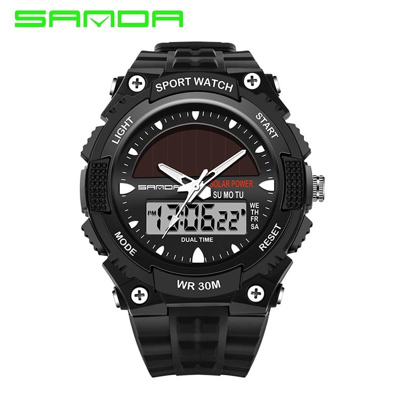 SANDA New Fashion Japan Movt Men Sport Solar Watch Led Dual Timezone Digital Analog Wristwatch Delicate Waterproof Wrist Watch