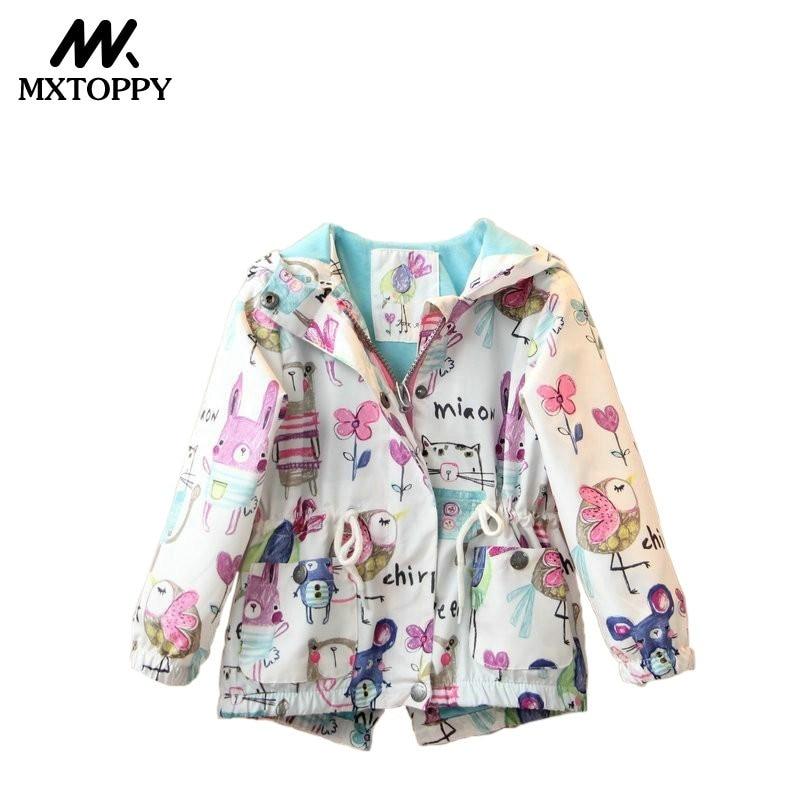 MXTOPPY Windbreaker For Girls 2018 Fashion Cartoon Jacket For Girls casaco infantil menina Childrens Jacket