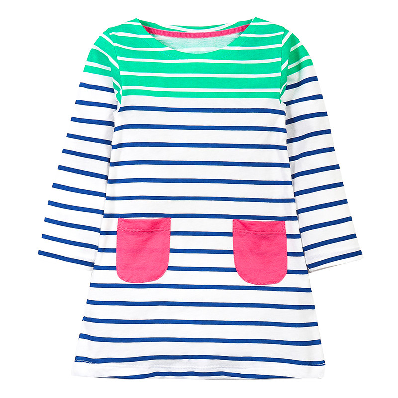2-7T Girls baby dresses new stripedd children cotton clothes long sleeve fashion o-neck autumn spring kids girl dress frocks children s spring and autumn girls bow plaid child children s cotton long sleeved dress baby girl clothes 2 3 4 5 6 7 years