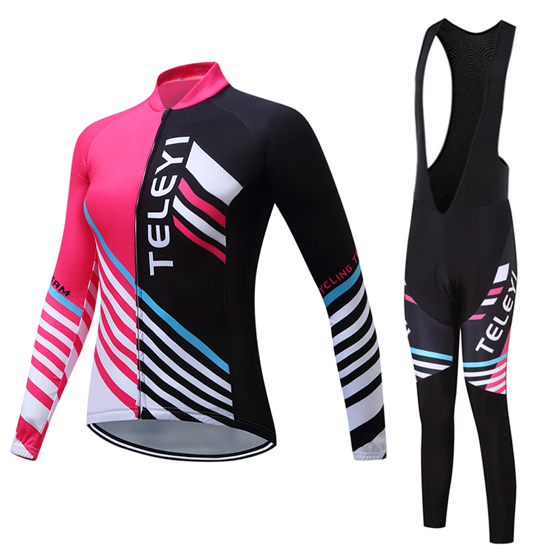 TELEYI Women Long Sleeve Spring/Autumn Cycling Jersey BIB Pants Sets Racing Bike Clothing Kits Bicycle Maillot Riding Clothes teleyi bike team racing cycling jersey spring long sleeve cycling clothing ropa ciclismo breathable bicycle clothes bike jersey