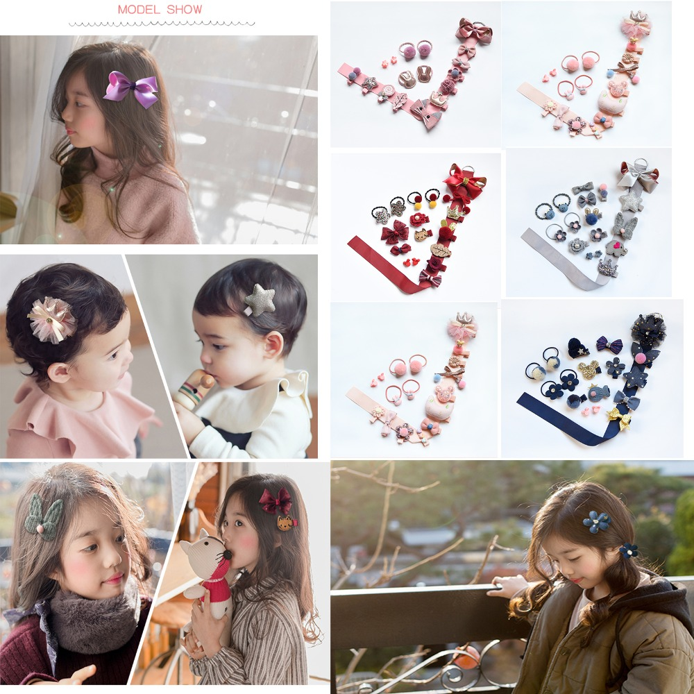 18Pcs//Set Cute Toddler Baby Girls Hair Clips Hair Bows Leisure Elastic Hair Ties
