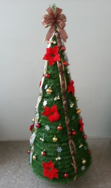Pre decorated over 100s decorations Pull Pop-Up 6 Foot 180cm 360 days  quality guarantee RED Christmas Tree - Pre Decorated Over 100s Decorations Pull Pop Up 6 Foot 180cm 360