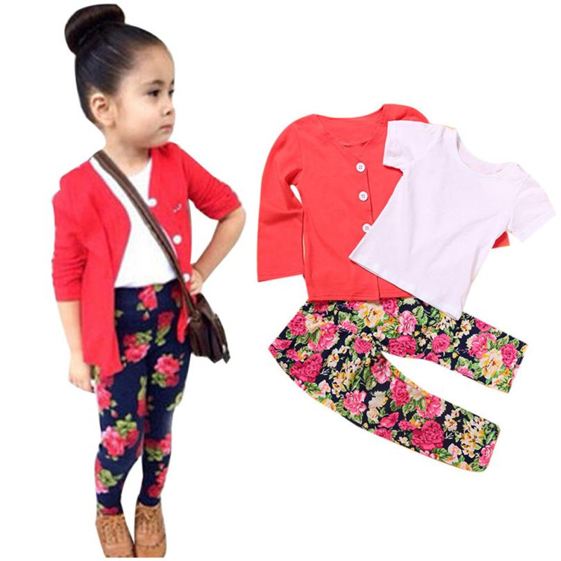 1Set Kids Toddler Girls Long Sleeve T-Shirt Tops+ Coat+ Floral Pants 3pcs sets Clothes Outfits girls children clothing toddler baby kids girls clothes sets summer lace tops t shirt short sleeve denim jeans pants cute outfits clothing set