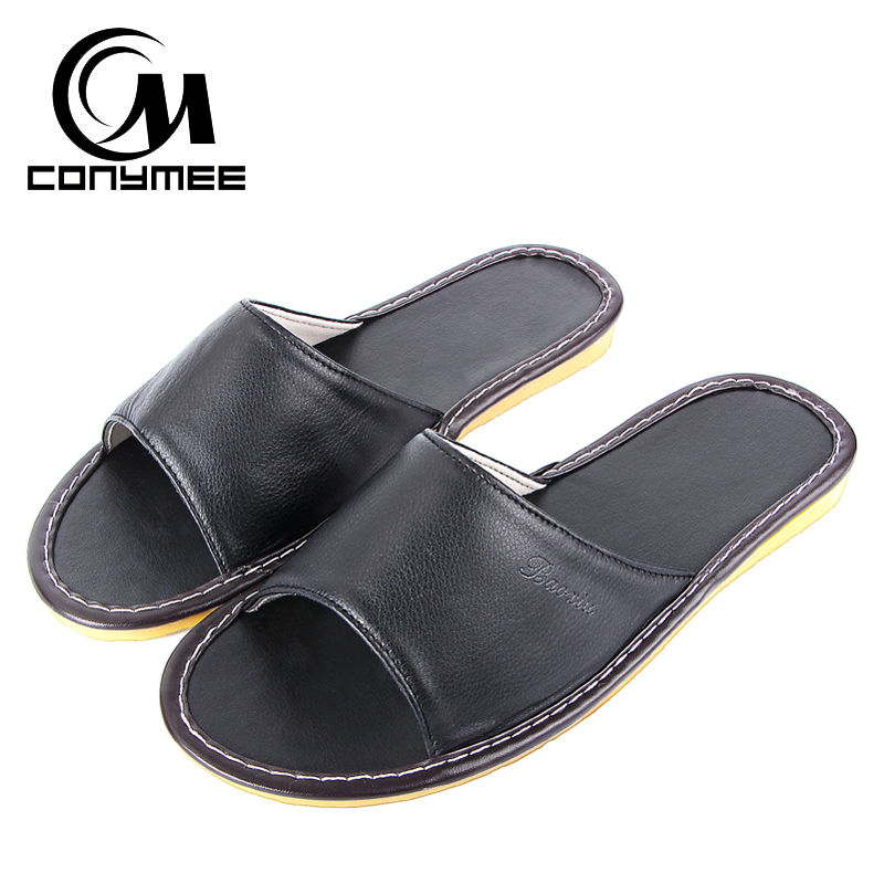 CONYMEE Summer Slippers 2018 Home Indoor Casual Shoes Sneakers Men Genuine Leather Beach Sandals Non-Slip Oxford Mens Pantufa conymee jd xtw home slippers