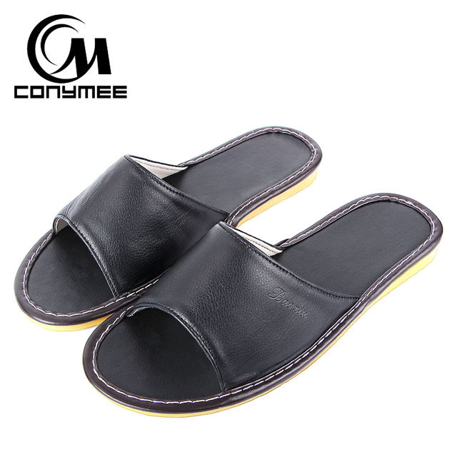 840a96783ee9 CONYMEE Summer Slippers 2018 Home Indoor Casual Shoes Sneakers Men Genuine  Leather Beach Sandals Non-Slip Oxford Mens Pantufa