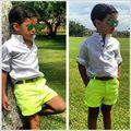 2015 летняя мода new kids одежда набор 2 шт./компл. conjunto де roupa детская одежда мальчика рубашка и короткие детская одежда наборы