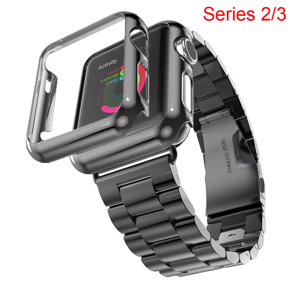uk availability e6099 163a9 US $13.55 24% OFF Gold Plated Cover Protective Case Bumper Stainless Steel  Metal Strap for Apple Watch Series 3 2 Band for iWatch Bracelet 42/38mm-in  ...