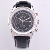 46mm Corgeut black Quartz mens watch sports watch FULL Chronograph Leather