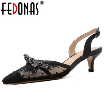 FEDONAS 2019 Summer New Mesh Genuine Leather Women Sandals Classic Pointed Toe High Heels Elegant Buckle Shoes Woman Party Shoes