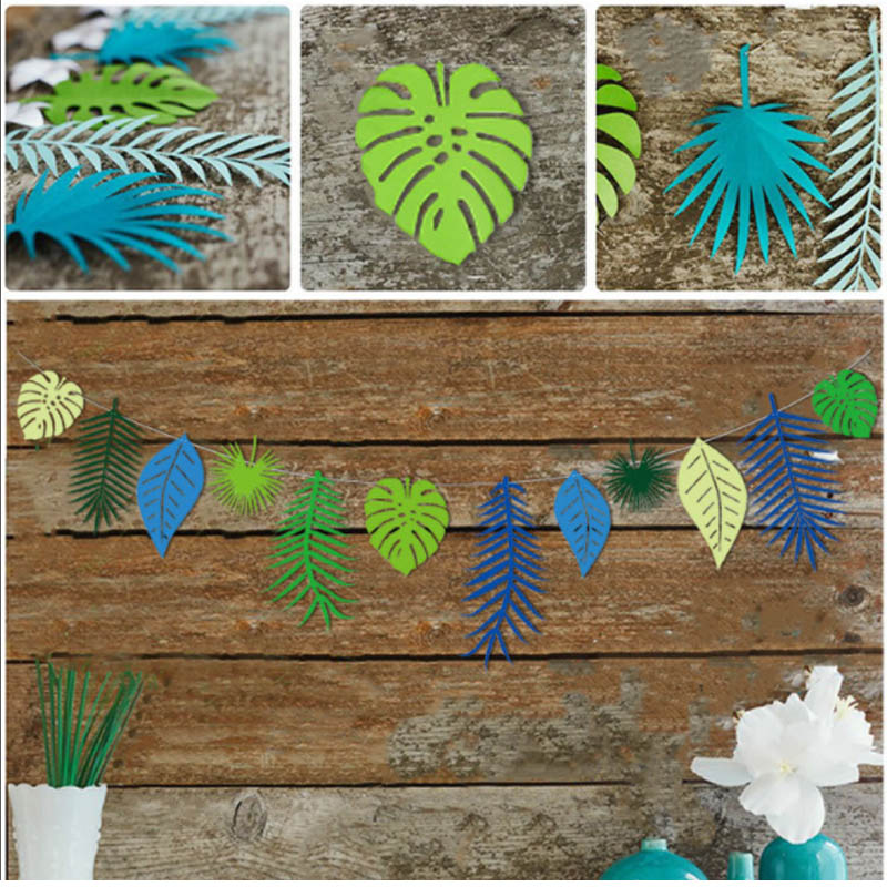 1SET Flamingo Flower Garland Tropical Coconut leaves For Birthday Party Flag