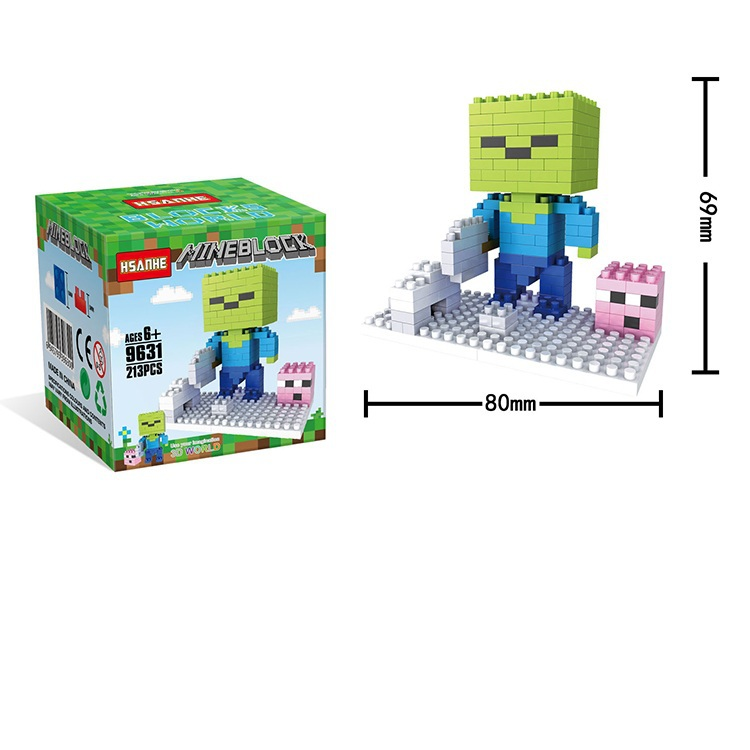 8 styles game minecraft building blocks eduational plastic for Plastic blocks for crafts
