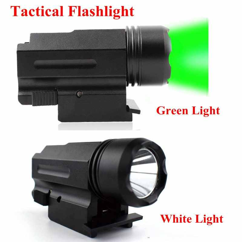 Verde//Blanco LED Luz de pistola Linterna táctica para montaje en carril 20mm Nuevo