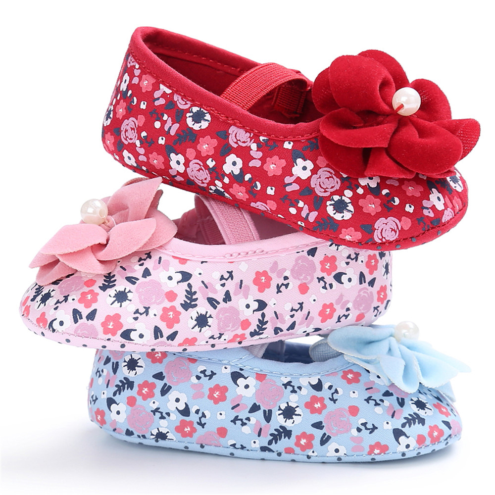 1 Pair Elastic Band Baby Shoes Flower Shoes Soft Insoles Anti-Slip Shoes Newborn Prewalker Floral Bottom Princess Crib Shoes