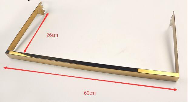 60cm Titanic Gold Stainless Steel Garment Store Clothing Rail Tube Coat Display Rack Support Bar Bracket Holder Square Bar