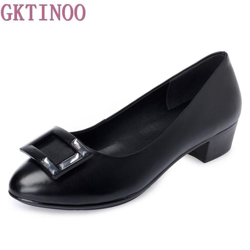 GKTINOO Schwarze Frauen Schuhe Pumps Damen Medium Ferse Sexy High Heels Hochzeit Schuhe Frauen Büro Pumpen für Mädchen