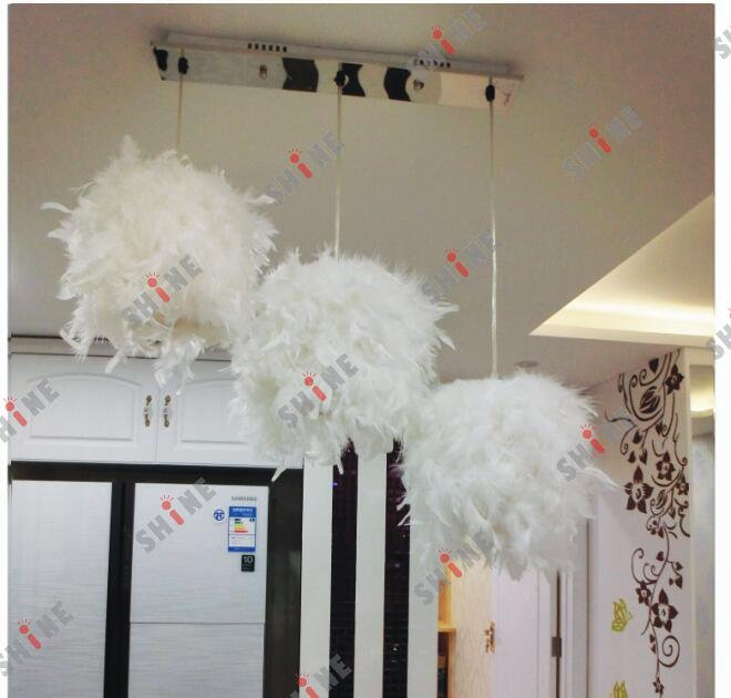 A1 white French garden simple single head three head pendant lamps feather meal bedroom hallway Cafe Cafe stairs pendant lights stairs simple single head three dining