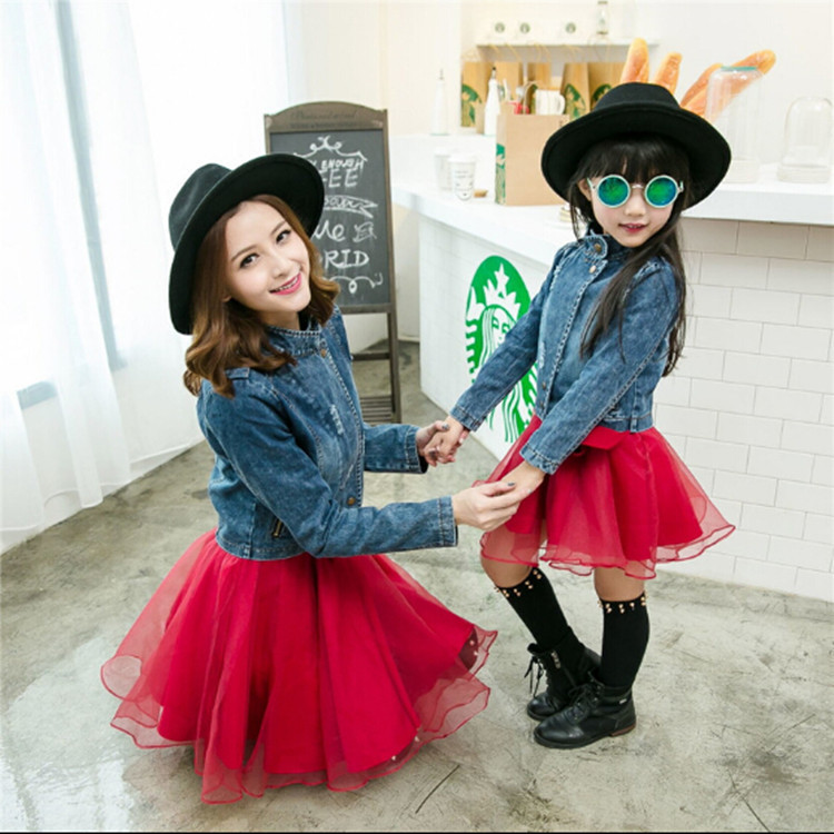 Family look new matching spring and autumn <font><b>jeans</b></font> short <font><b>sleeved</b></font> jacket casual suit mother and daughter clothes