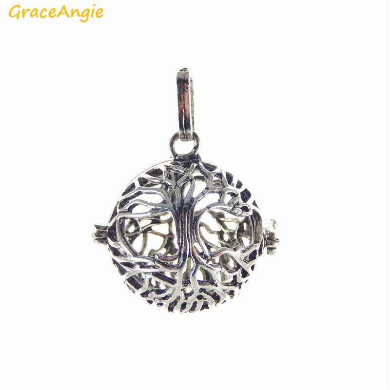GraceAngie 1PC Antique Silver Hollow Tree of Life Cage Locket Pendant Copper Metal Charm Aromatherapy Diffuser Jewerly Handmade