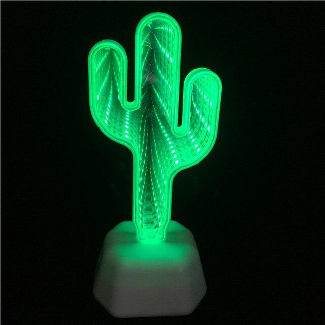 Leedome 3D Creative Novelty Cactus Unicorn Tunnel Lamps Infinity Mirror Light LED NightLamp Cute Heart Night Light For Home Led 2