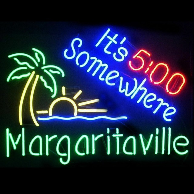 It s 5 00 Somewhere Palm Tree Glass Neon Light Sign Beer Bar