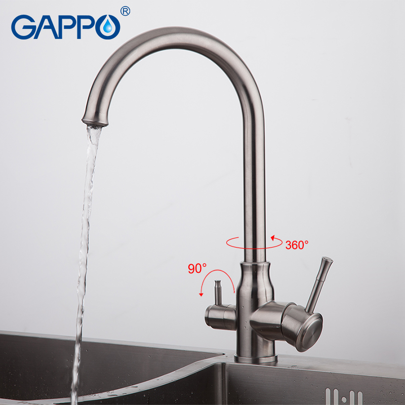 US $50.96 49% OFF|GAPPO kitchen faucet with water filter faucet stainless  steel Kitchen sink tap kitchen faucet mixer water Filter Tap-in Kitchen ...