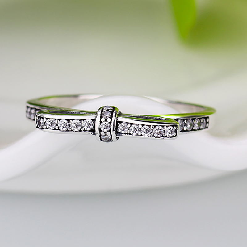 e8adda480 HOMOD 2018 New Silver Color Sparkling Bow Knot Stackable Pandora Ring Micro  Pave CZ For Women Wedding Jewelry-in Wedding Bands from Jewelry &  Accessories on ...