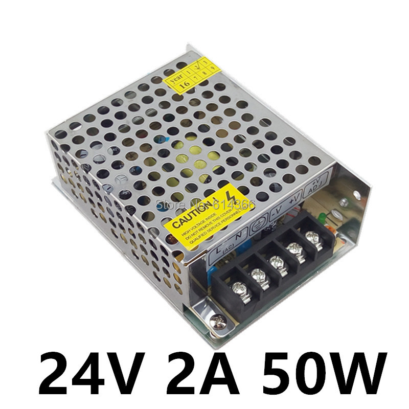 LED Power Supply 24V 2A 50W LED Driver Power Supply Switching Strip 3528 5050 Lighting For Transformers Aluminum hot 12v 50a 600w 100 264v electronic transformer high quality safy led current driver for led strip 3528 5050 power supply