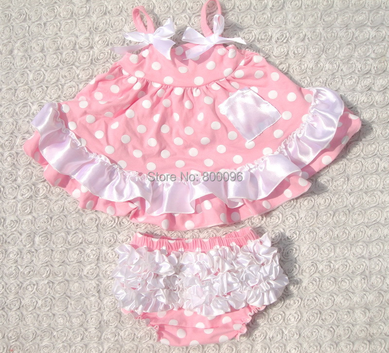 Hot Sale Baby Girl Swing Outfits Cute Ruffles Dot Print Satin Bow Pink Swing Top Bloomers 2pcs Clothing Set Kids Suit KP-SW030