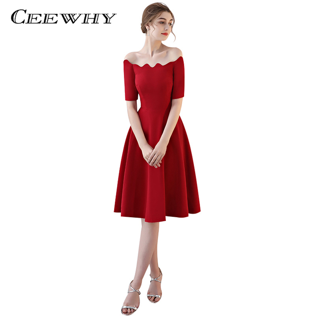 CEEWHY A-line Short Prom Dresses Boat Neck Cocktail Party dress Veatidos de  Festa Simple Style Wedding Party Dress 323fab0cbf1c