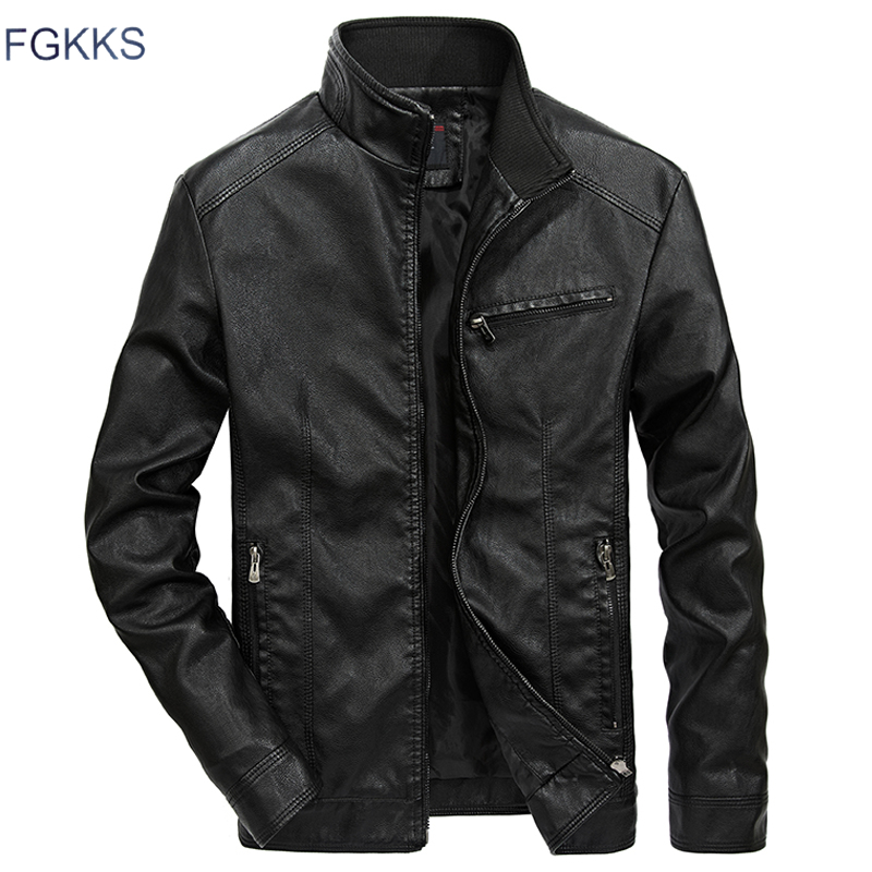 FGKKS Men Brand Casual Leather Jackets 2019 Autumn Winter Male Bomber Jacket Outwear Coat Men's Motorcycle Leather Jacket