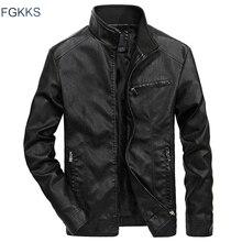 FGKKS Men Brand Casual Leather Jackets 2020 Autumn Winter Male Bomber Jacket Outwear Coat Mens Motorcycle Leather Jacket