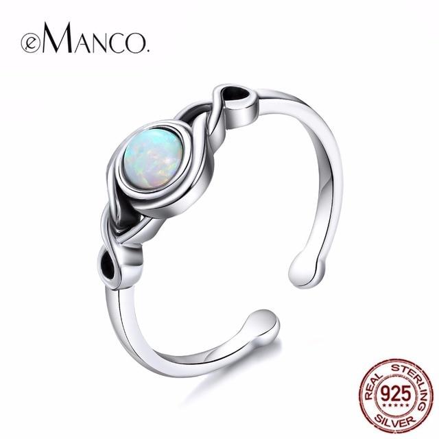 EManco Size7 Atual 925 Sterling Silver Abrir cuff Opal Anéis para As Mulheres Do Vintage One Piece boho Jóias pour les Anneaux femmes