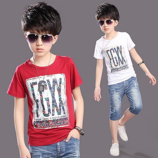 Muchachos del o-cuello de la Camisa de Algodón Que Basa Vetement Garcon Explosivos Chicos Camiseta Con Mangas Cortas Niños Ropa De Impresión Tipográfica