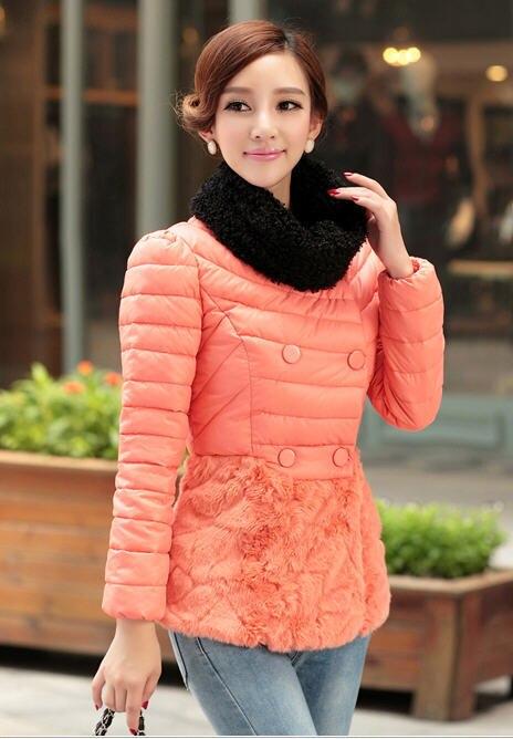 2013 new fashion short Slim padded cotton jacket winter long sleeve double-breasted round neck stitching fur hem coat H1781