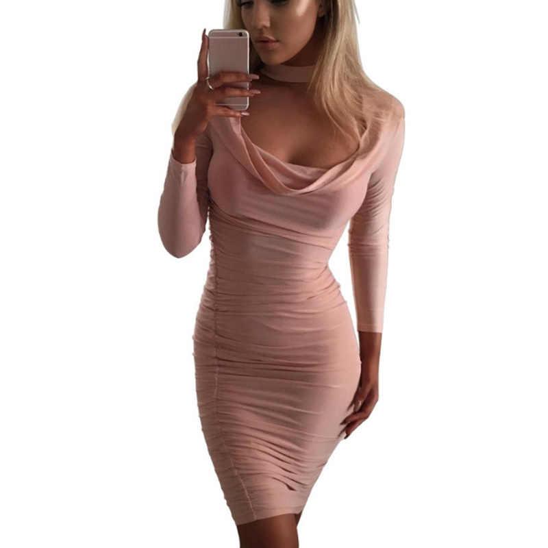 Damska sukienka koktailowa Bodycon z długim rękawem Slim jednolity kolor bankiet, urodziny Party klub sukienka lato TC21