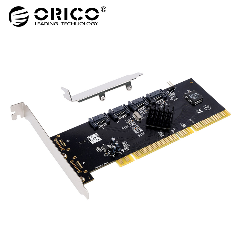 ORICO 4 Port SATA2.0 PCI-E Expansion Card PCI-X host Interface to 4 SATA2.0 Ports Support RAID 0,RAID 1,RAID 5,RAID 0+1,JBOD color block elastic waist selvedge embellished basketball shorts