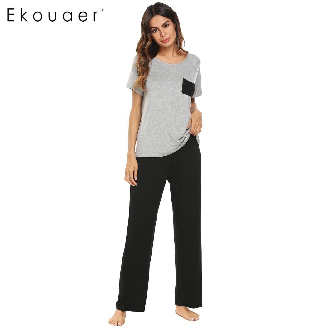 Ekouaer Femmes Décontracté Pyjamas Ensemble O-cou Manches Courtes Pleine Longueur Sleepwear Printemps été Vêtements De Nuit Femmes Nuisettes Vêtements Pour La Maison