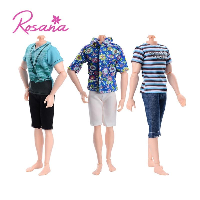 Rosana Mode Kort Ärmar + Byxor Casual Wear för Barbie Pojkvän Ken Doll Kläder Dolls Byxor Passar Skjortor Tillbehör