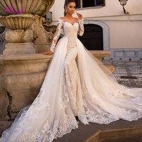 Fmogl Gorgeous Appliques Detachable Train Mermaid Wedding Dresses 2019 Sexy Boat Neck Long Sleeves Bridal Gown Vestido de Noiva