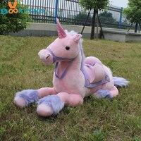 BOOKFONG 90CM Giant Pink Unicorn Plush Toy Plush Stuffed Animal Horse Unicorn High Quality Kids Birthday Gift