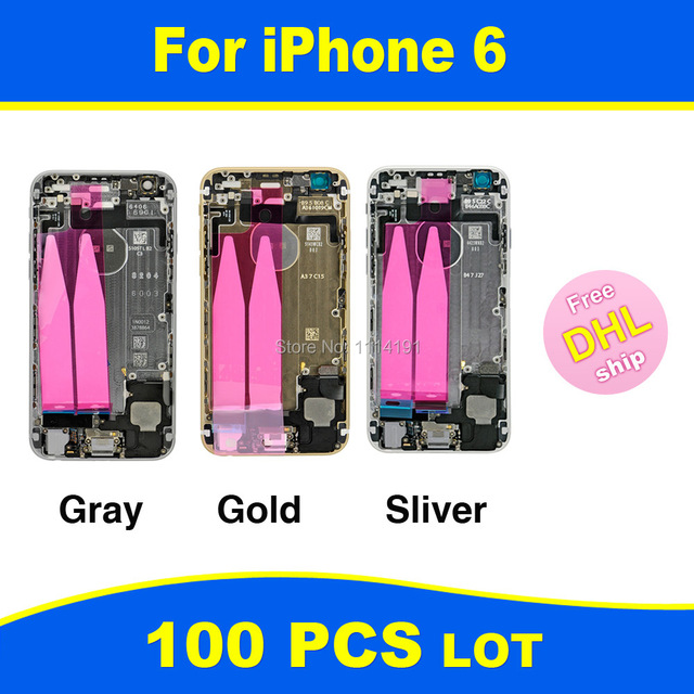 FREE DHL X 100 Chassis Full Parts for iPhone 6 6G Middle Frame Bezel Midframe Housing Battery Rear Case Cover Assembly Tools